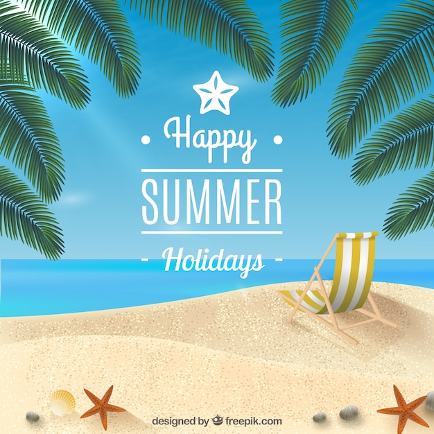 Happy summer holidays background Free Vector