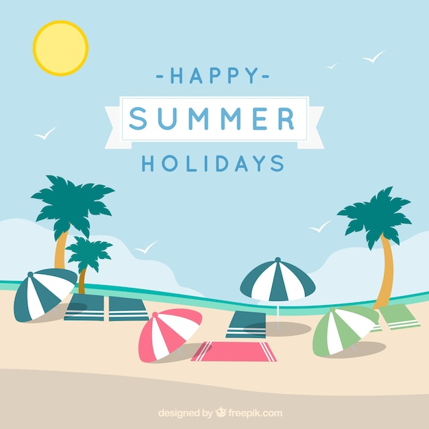 Happy Summer Holidays Card Free Vector