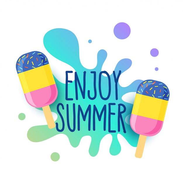 Happy summer icecream background with water splash Free Vector