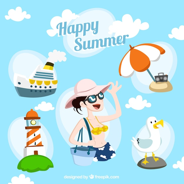 Happy summer illustration