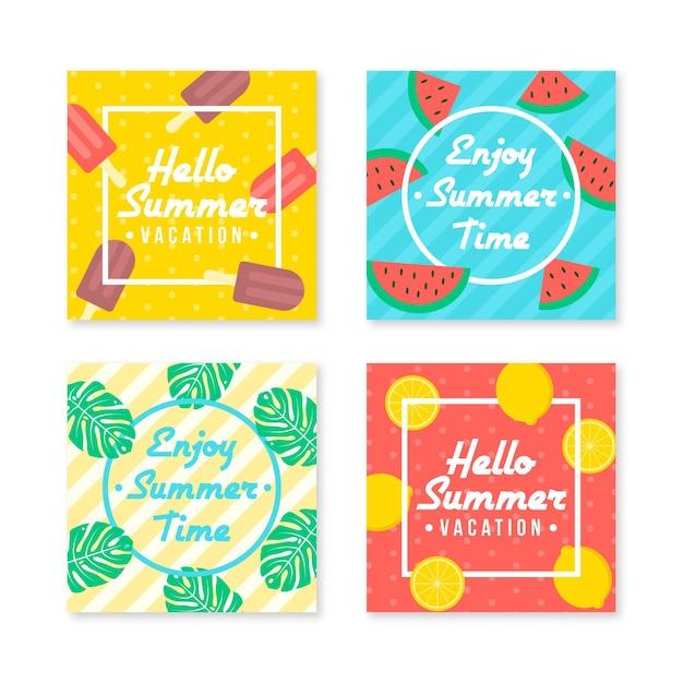 행복 한 여름 Instagram 게시물 컬렉션 프리미엄 벡터
