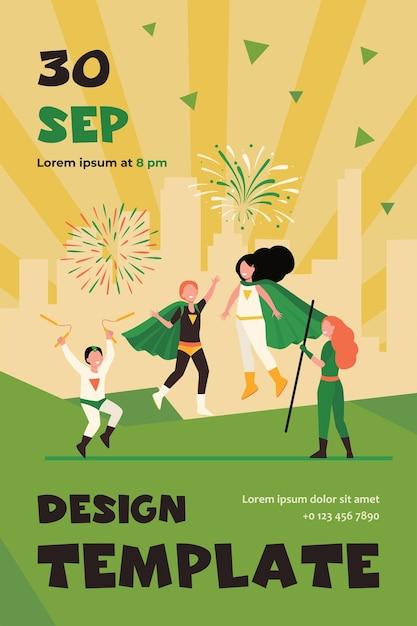 Happy superhero kids team flat flyer template Free Vector