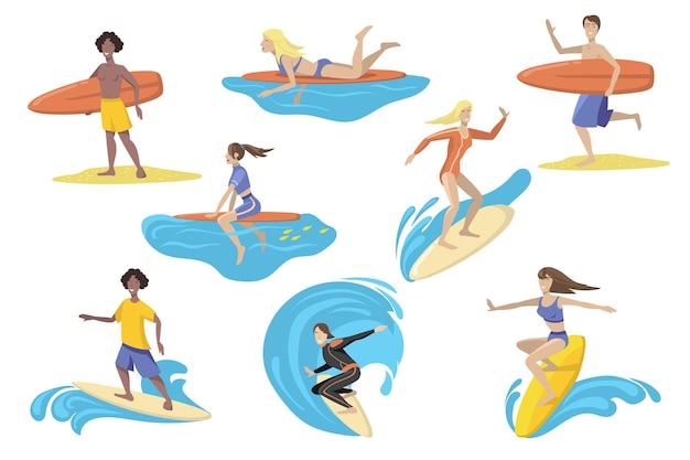 서핑 보드 평면 세트와 함께 행복 한 서퍼 무료 벡터
