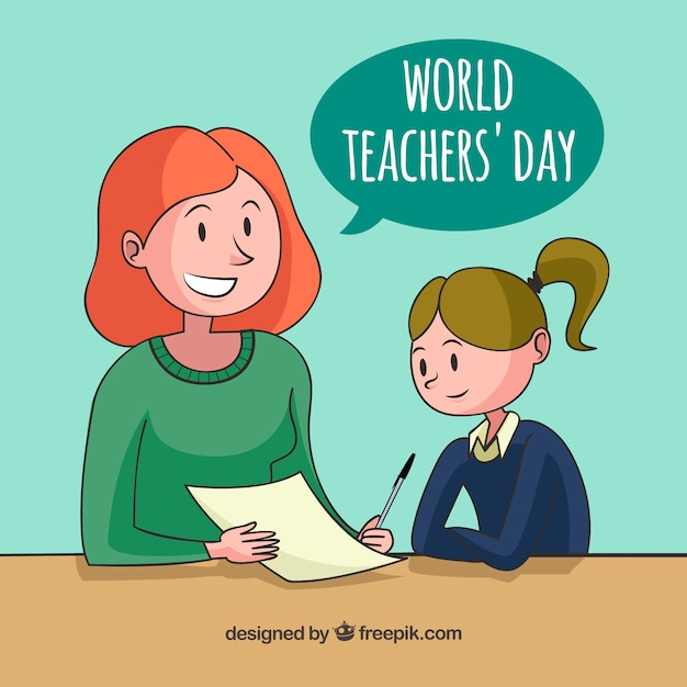 Happy teacher's day, a girl learning