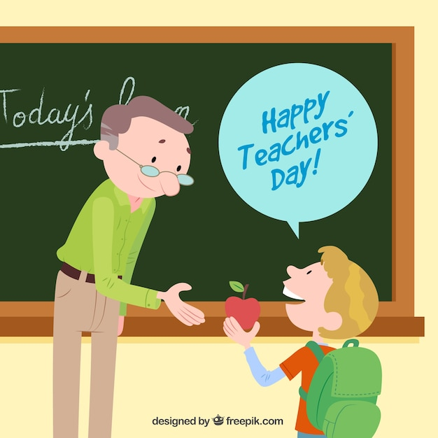 Happy teacher\'s day, a student with an\ apple