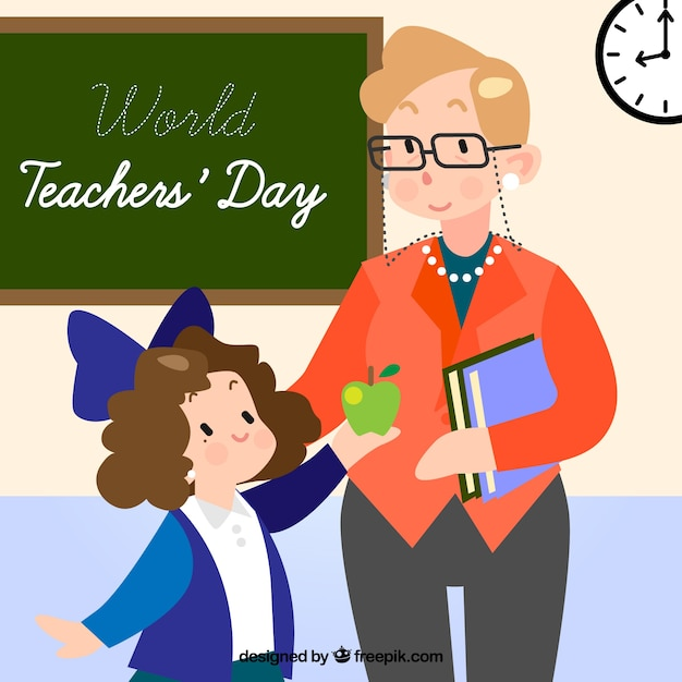 Happy teacher\'s day, a teacher and a\ student