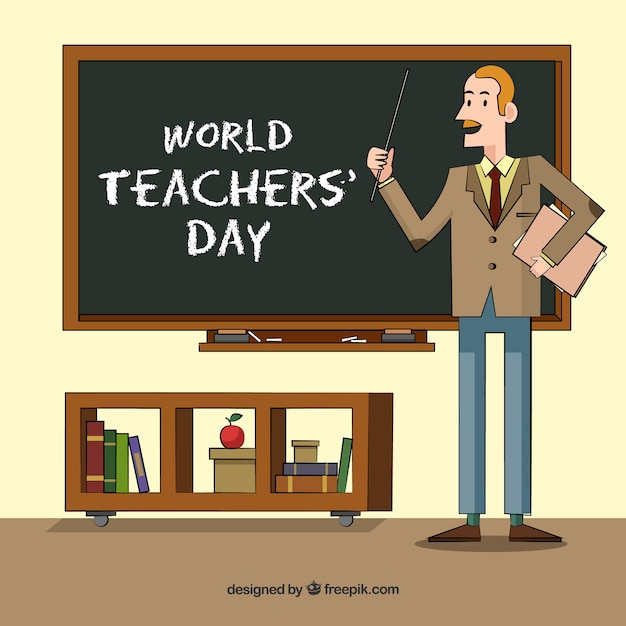 Happy teacher\'s day, a teacher in the\ classroom