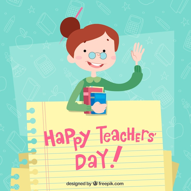 Happy teacher\'s day, a teacher with a notebook\ sheet