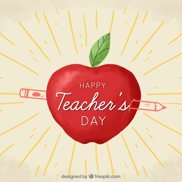 Happy teacher's day, an apple and a pencil