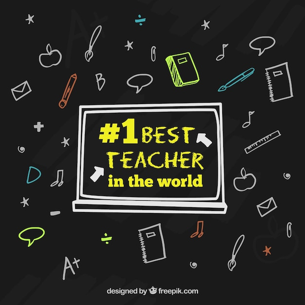 Happy teacher\'s day, black background with\ hand-drawn elements