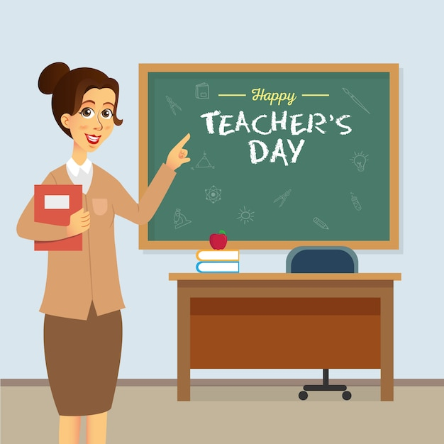 Happy teacher's day cartoon illustration. suitable for greeting card, poster and banner Premium Vector