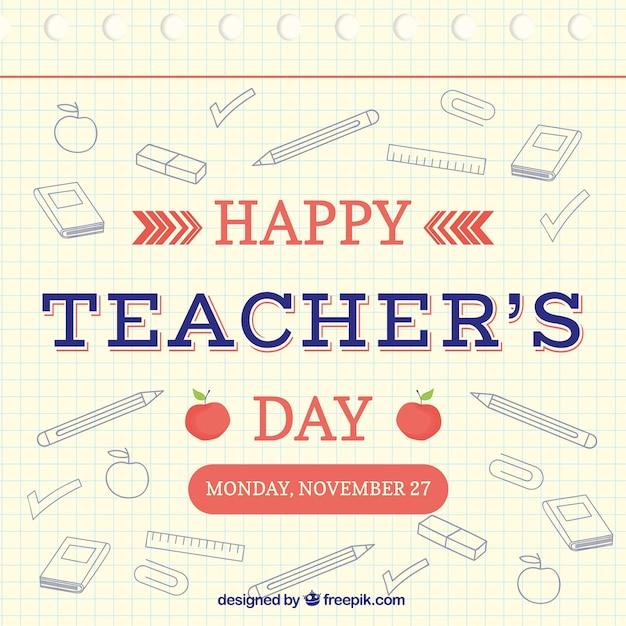 Happy teacher\'s day, hand-drawn elements