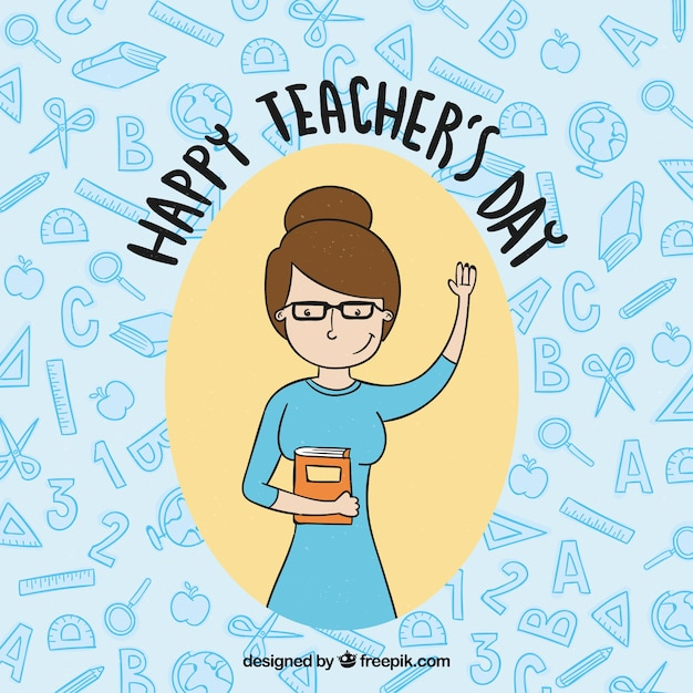 Happy teacher's day, hand-drawn teacher