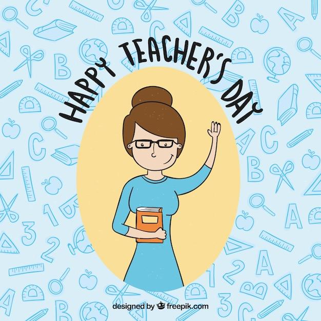 Happy teacher\'s day, hand-drawn teacher