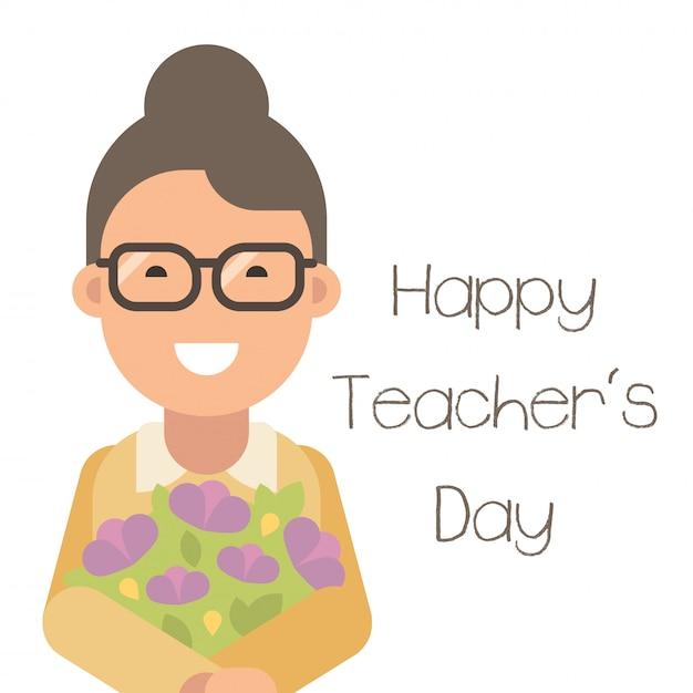 Happy teacher's day. happy young teacher with flowers Premium Vector