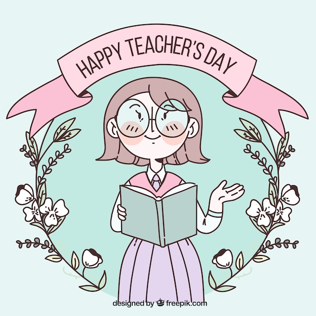 Happy teacher\'s day in pastel colours with a\ flower wreath