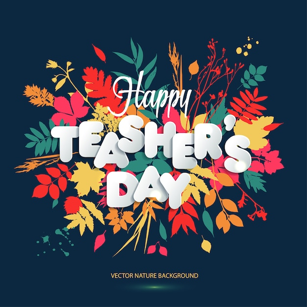 Happy teacher s day layout design with volume paper letters. Premium Vector