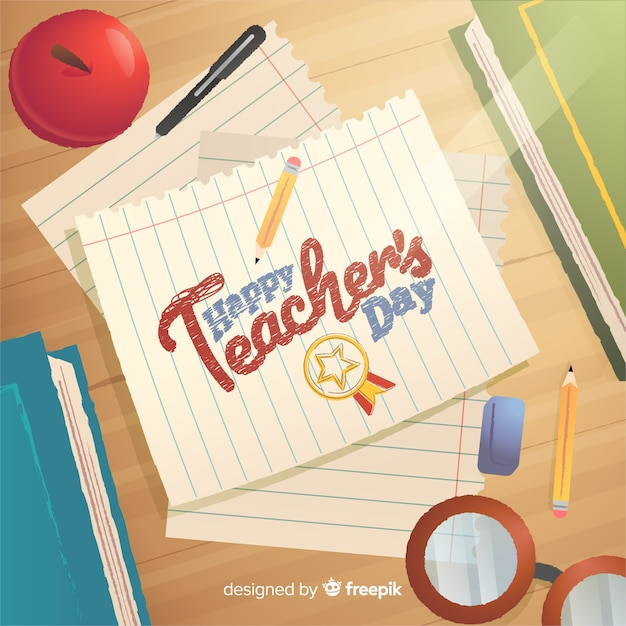 Happy teacher's day lettering on paper illustration Free Vector