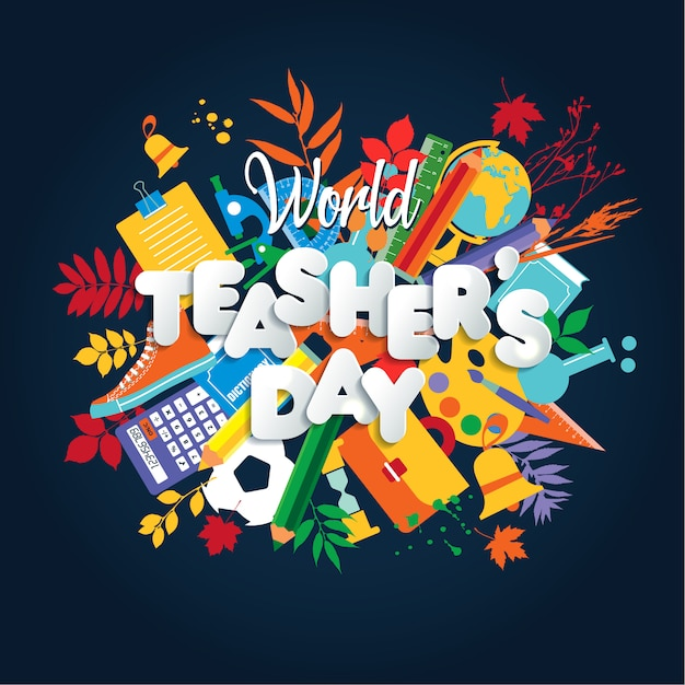 Happy teacher s day poster concept with bright icons. Premium Vector