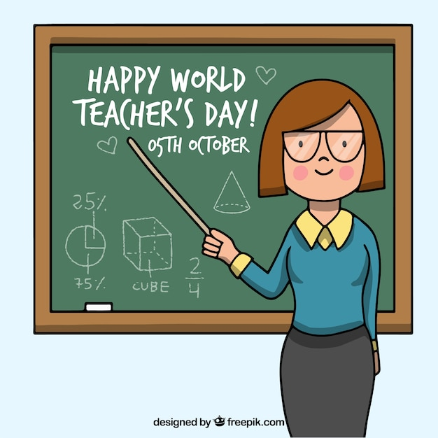 Happy teacher\'s day, teacher pointing to the\ blackboard