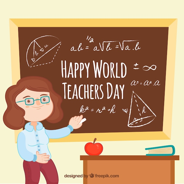 Happy teacher\'s day, teacher with a\ blackboard