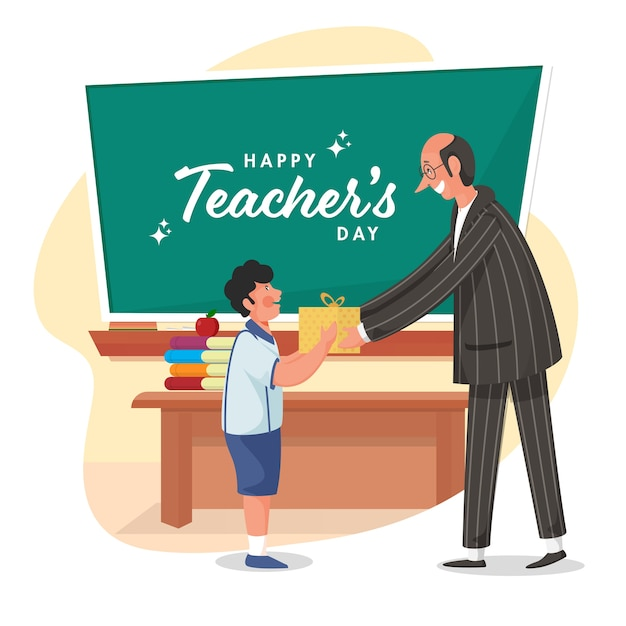 Happy teacher's day text on green chalkboard with student boy giving gift to his class teacher. Premium Vector
