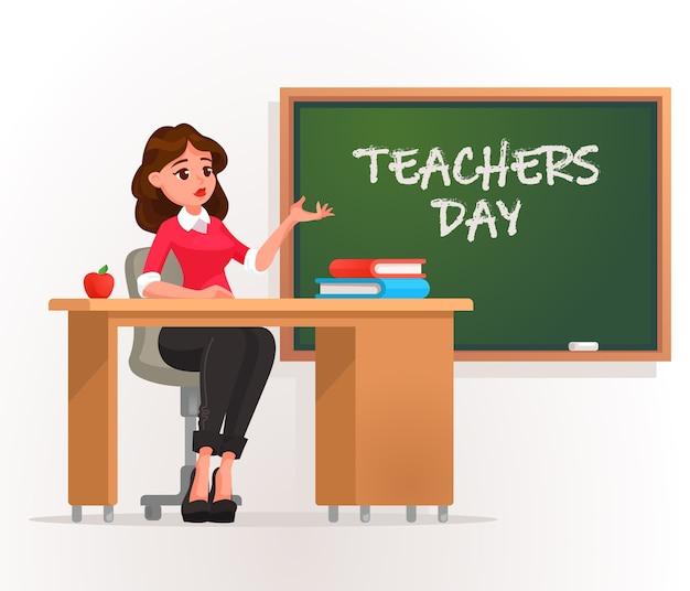 Happy teacher's day. Premium Vector