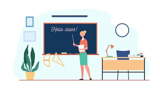 Happy teacher welcoming students in classroom, standing at blackboard with hello class inscription. vector illustration for back to school, education concept Free Vector