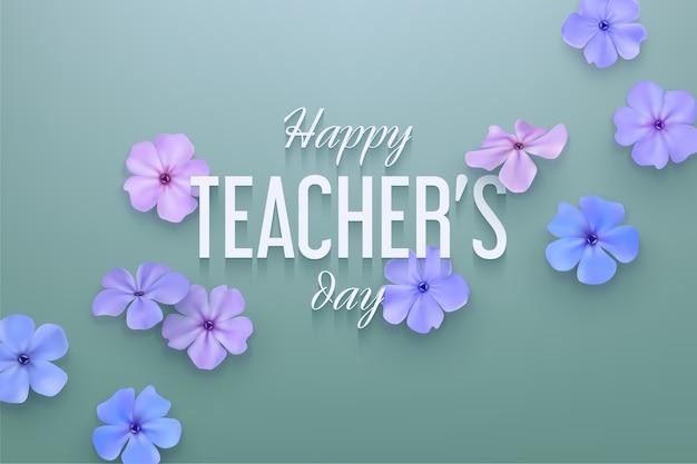 繊細な花と幸せな教師の日の背景。 Premiumベクター