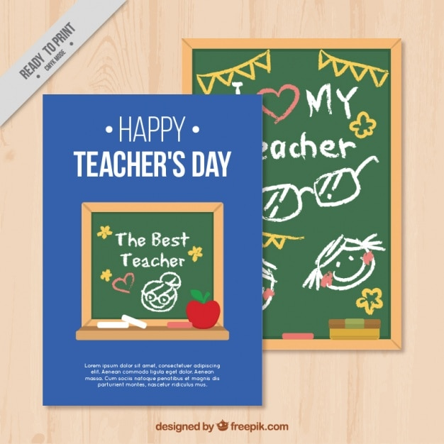 Happy teachers day card template Free Vector
