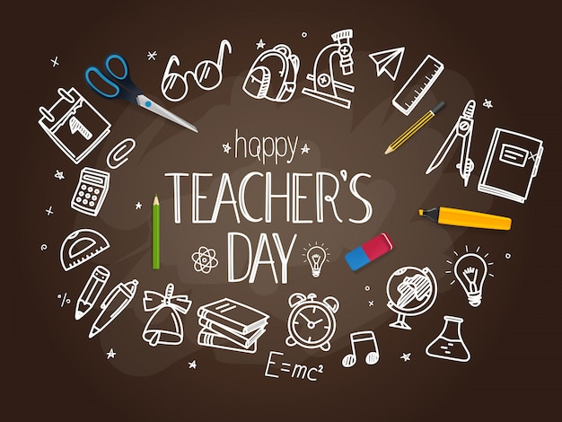 Happy teachers day concept Premium Vector