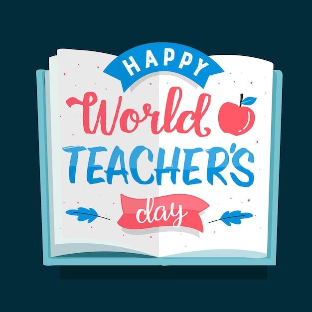 幸せな教師の日レタリング Premiumベクター