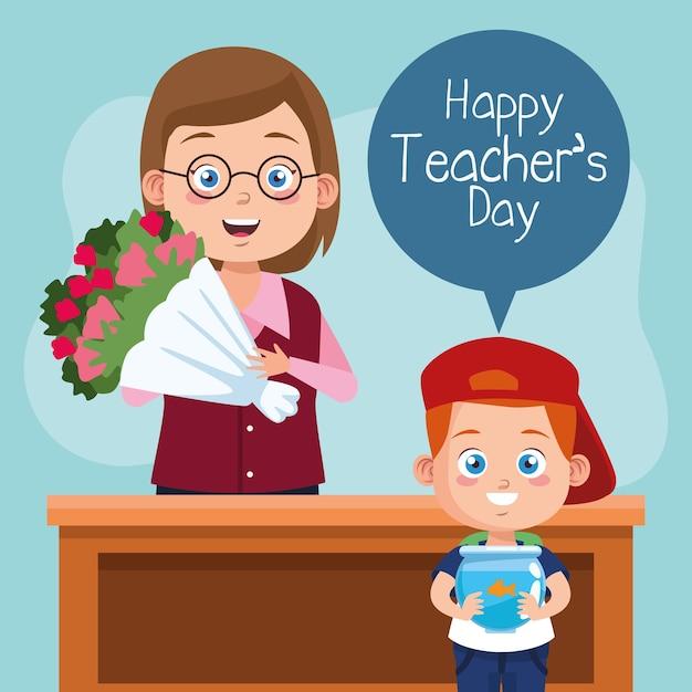 Счастливый день учителя сцена с учителем и школьником, поднимая цветы. Premium векторы