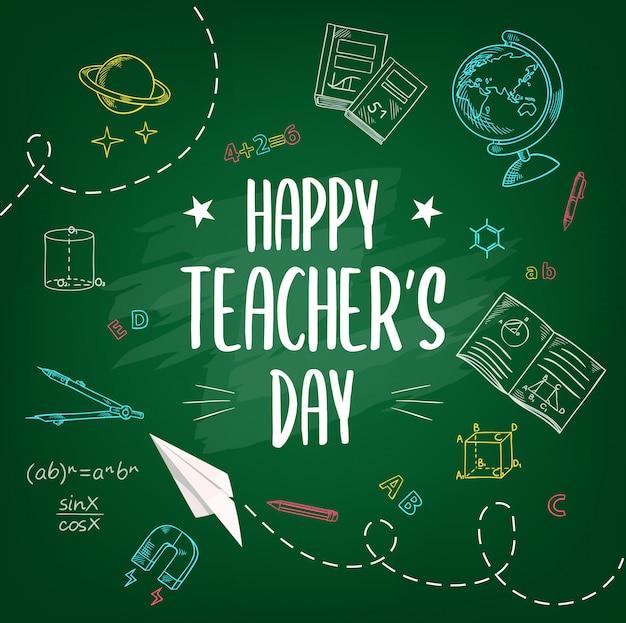 Happy teachers day, school chalk sketch background Premium Vector