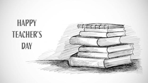 Felice giorno dell'insegnante disegno del libro di abbozzo Vettore gratuito