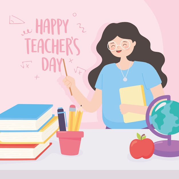 Happy teachers day, teacher school globe map apple books and pencils Premium Vector