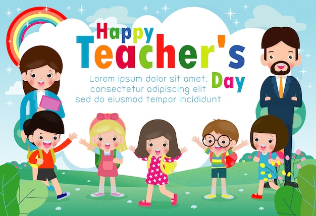Happy teachers day template greeting card Premium Vector