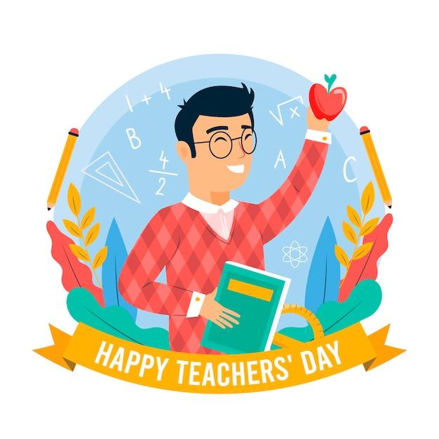 教育者と本で幸せな教師の日 無料ベクター
