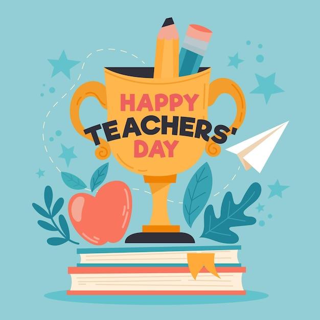 トロフィーと本で幸せな教師の日 Premiumベクター