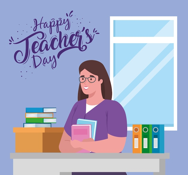 Happy teachers day, with woman teacher in desk and books Premium Vector