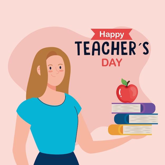 Happy teachers day, woman teacher with books and apple Premium Vector