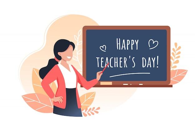 幸せな教師の日、若い女性教師はポインターを保持し、教育委員会、漫画イラストの近くに立っています。 Premiumベクター