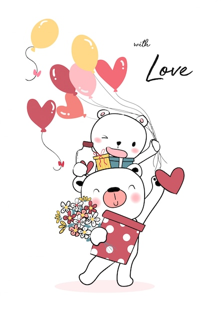 Happy teddy bear holding balloon heart and gift boxes Premium Vector