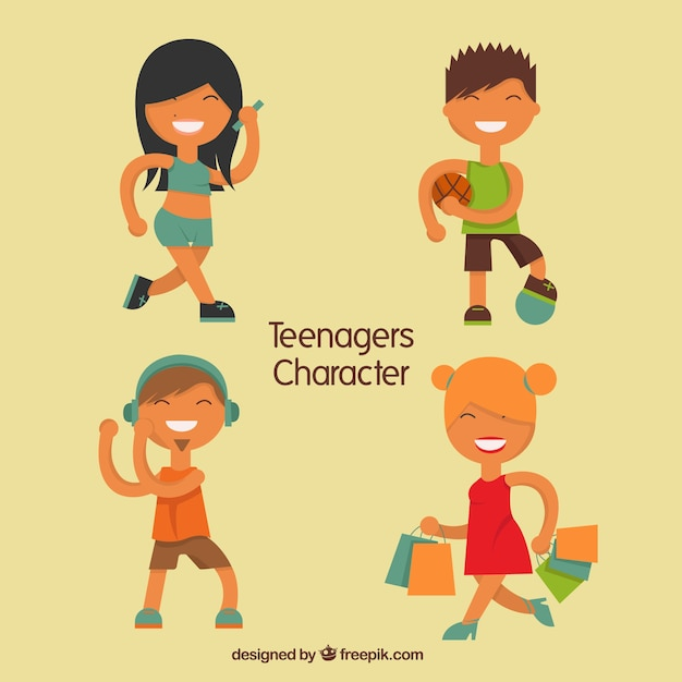 Happy tennager characters