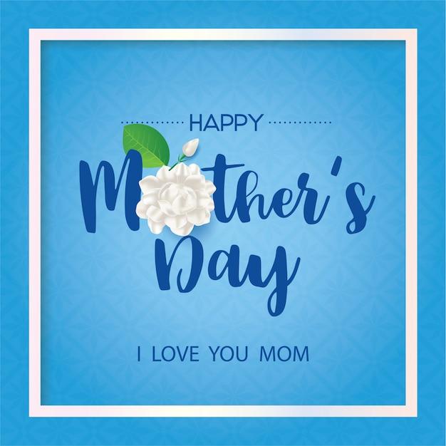 Happy thai mother's day with jasmine flower on blue background. Premium Vector