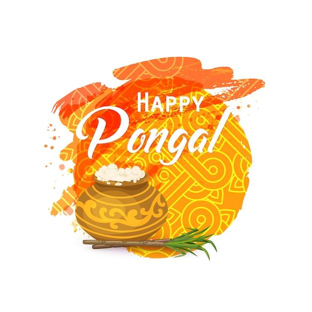 Happy thai pongal card Premium Vector