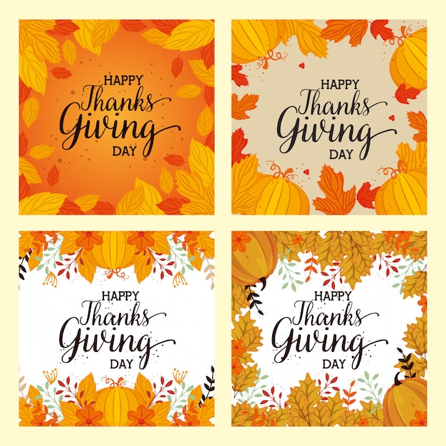 Happy thanks giving card set with floral decoration Free Vector