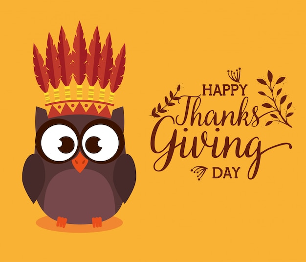 Happy thanks giving card with owl Free Vector