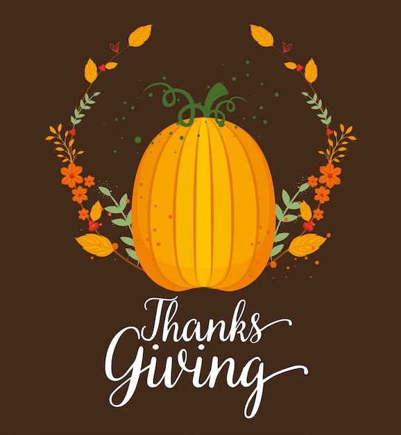 Happy thanks giving card with pumpkin Free Vector