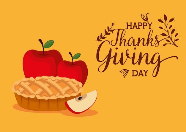 Happy thanks giving card with sweet pie Free Vector